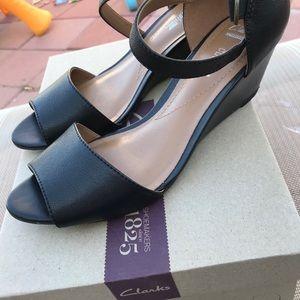 Clark Black wedge heels